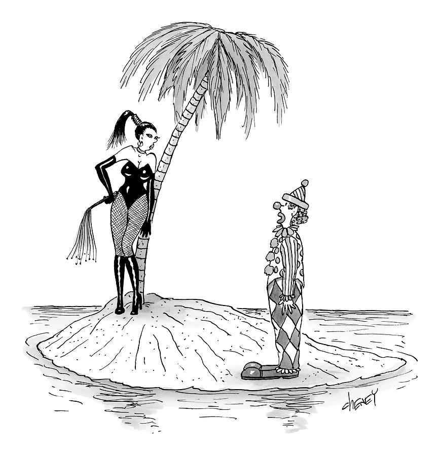 A Dominatrix Speaks To A Clown On A Small Desert Drawing by Tom Cheney