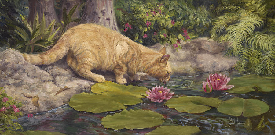 Cat Painting - A Drink At The Pond by Lucie Bilodeau