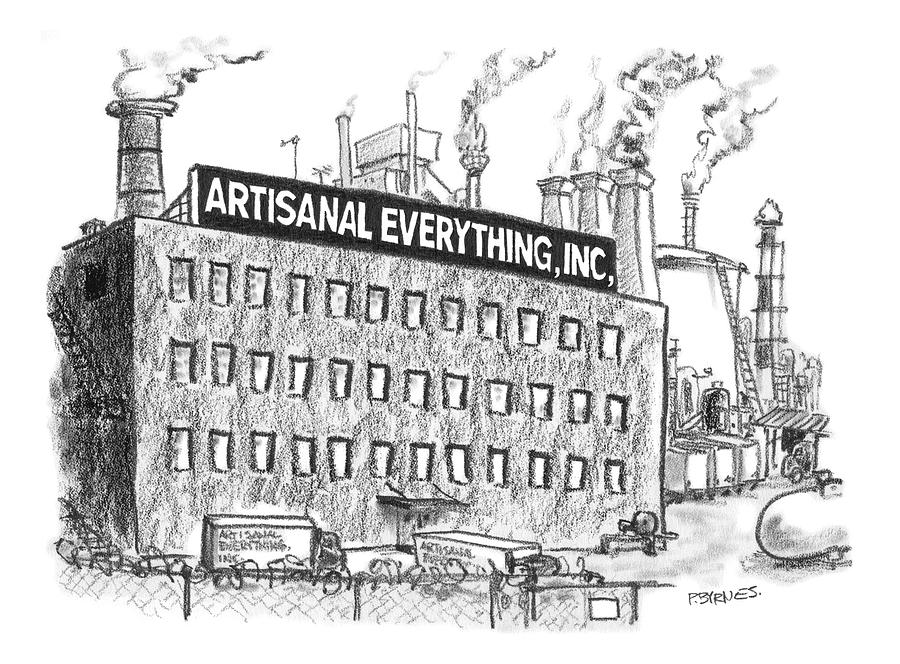 Artisanal Drawing - A Factory Stands With The Label Artisanal by Pat Byrnes