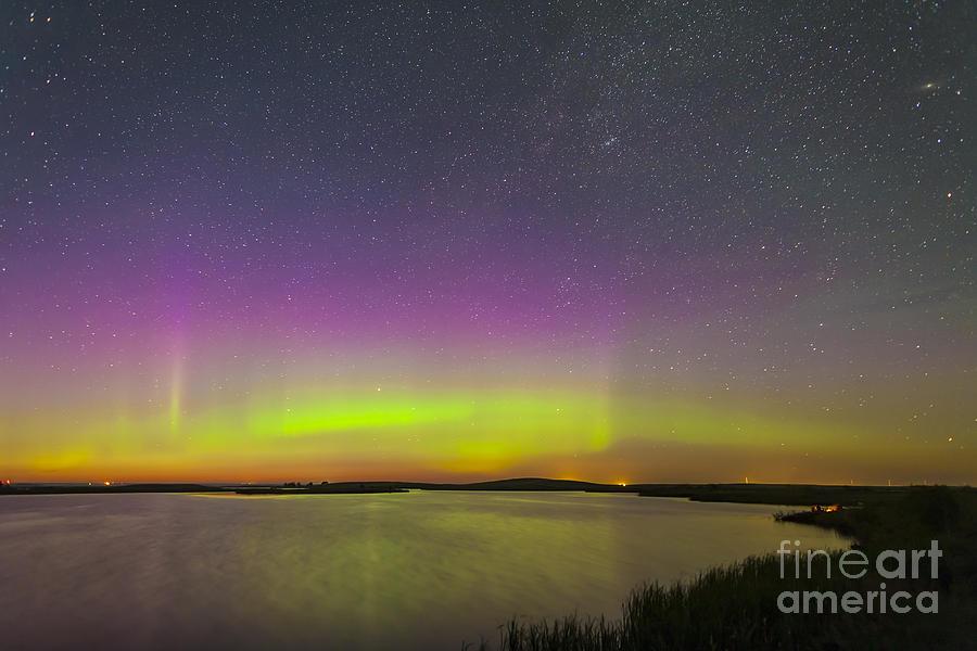 Alberta Photograph - A Faint Aurora Over Crawling Lake by Alan Dyer