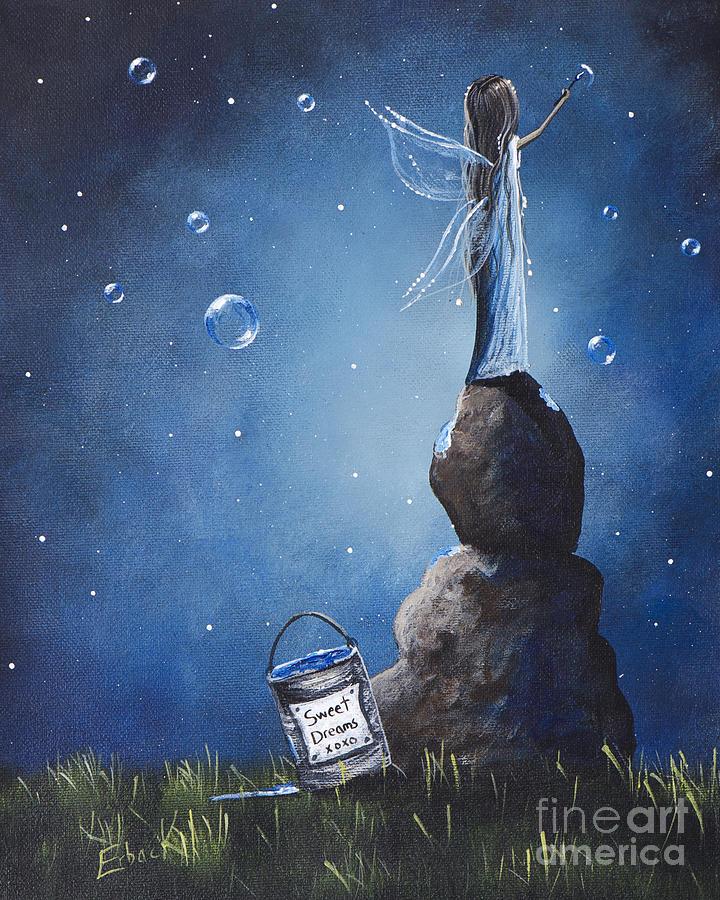 Fairy Painting - A Fairys Nighttime Gift By Shawna Erback by Shawna Erback