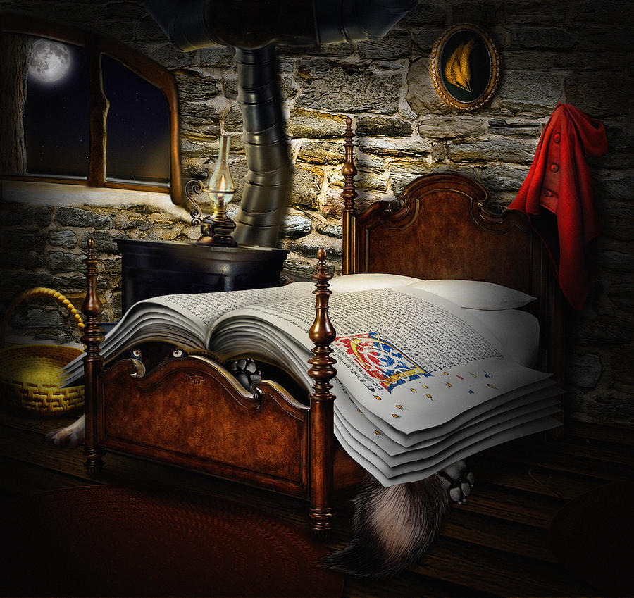 Little Red Cap Digital Art - A Fairytale Before Sleep by Alessandro Della Pietra