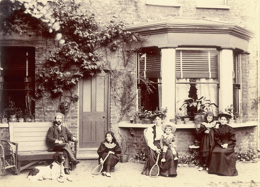 Family Photograph - A Family Break Off From Their  Tennis by Mary Evans Picture Library