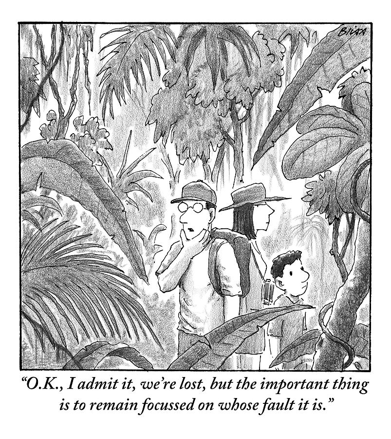 A Family Is Lost In The Depths Of A Jungle Drawing by Harry Bliss