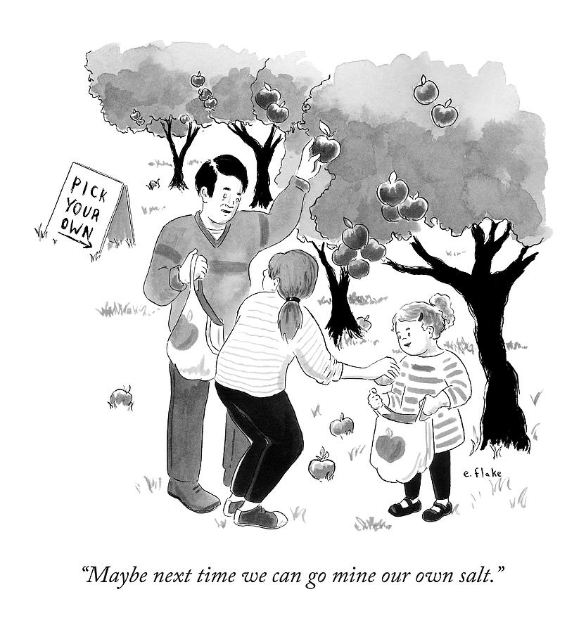 A Family Picks Apples Right From The Tree Drawing by Emily Flake