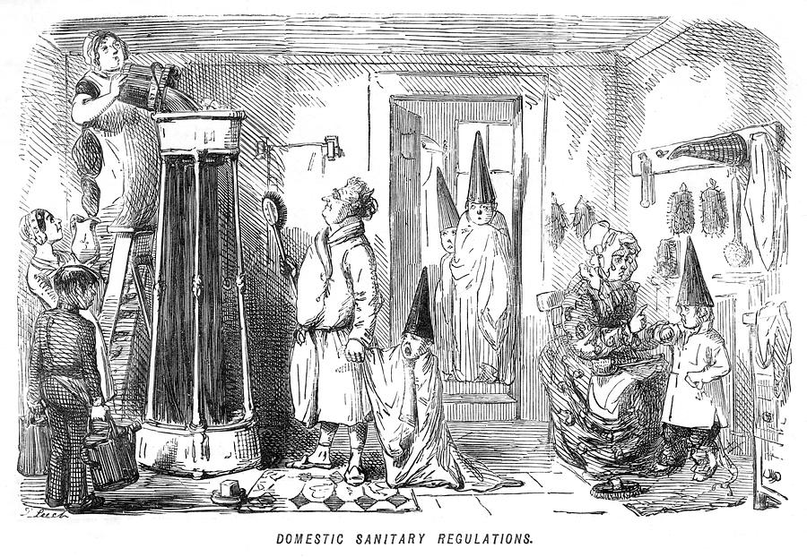 Family Drawing - A Family Prepare To Partake Of  A Shower by Mary Evans Picture Library