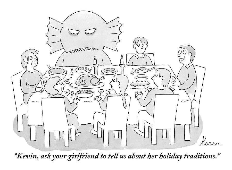 A Family Sits At A Dinner Table And One Member Drawing by Karen Sneider