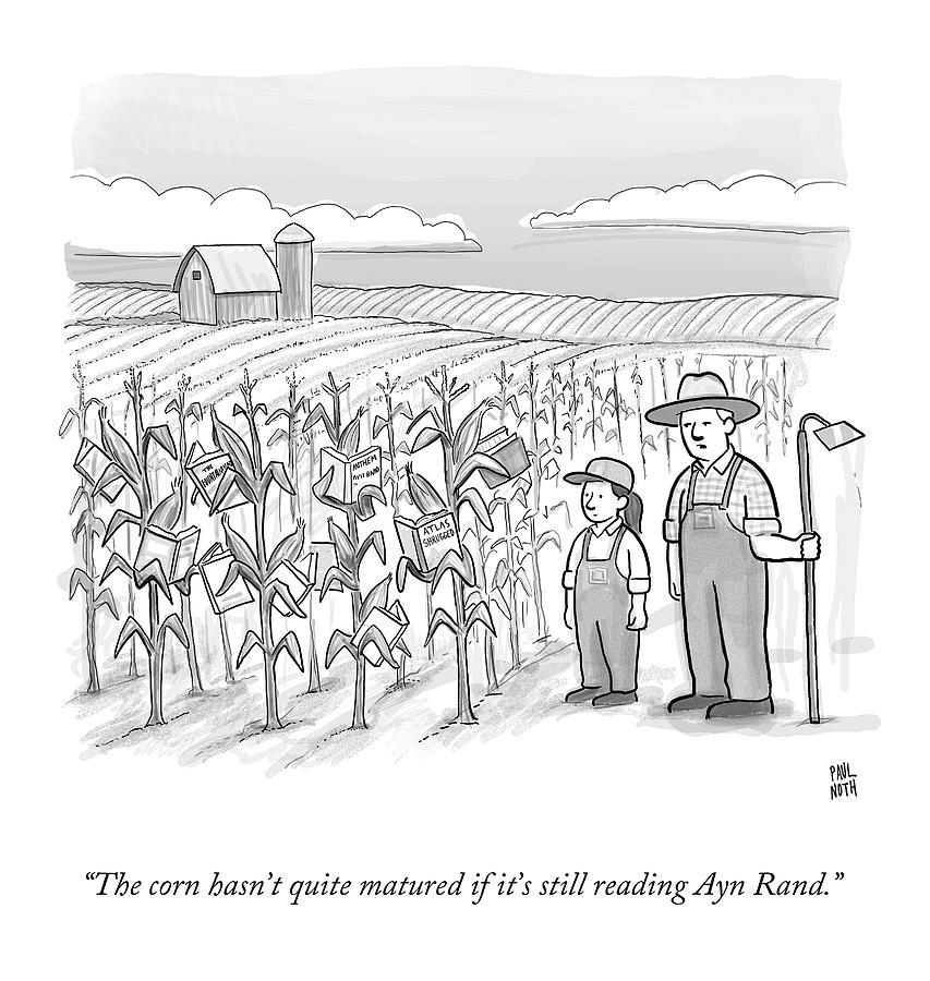 A Farmer And His Daughter Look At Cornstalks Who Drawing by Paul Noth