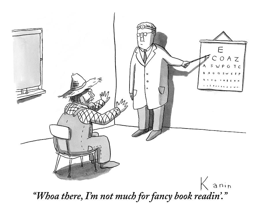 A Farmer Objects To A Doctors Eye Exam Letter Drawing by Zachary Kanin