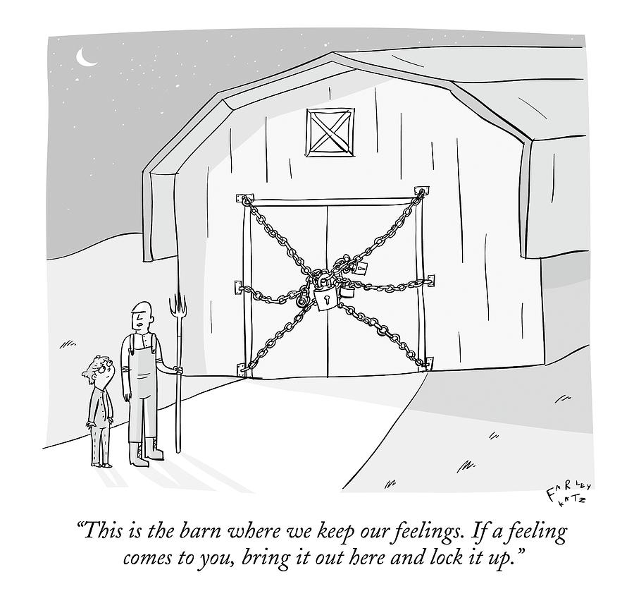 A Farmer Shows His Son A Barn That Is Locked Drawing by Farley Katz