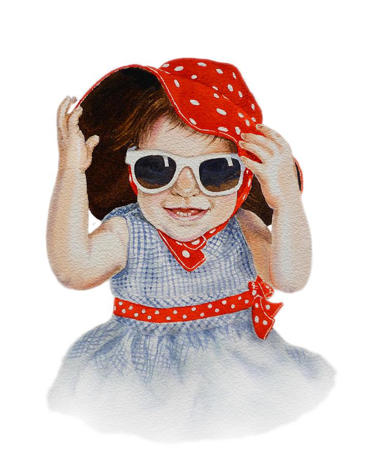 Red Hat Painting - A Fashion Girl  by Irina Sztukowski