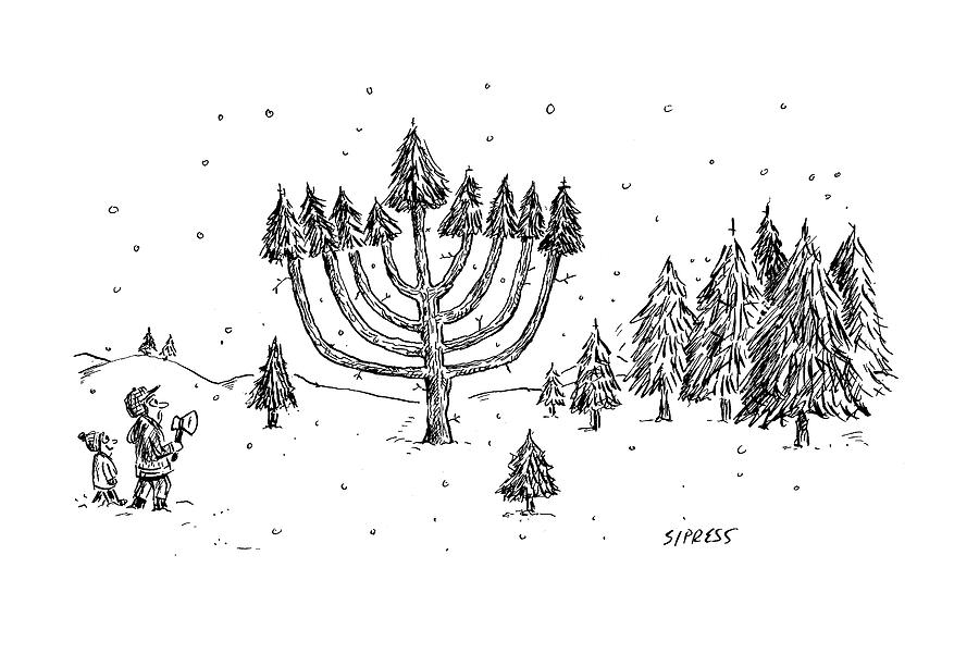 A Father And Child See A Menorah-shaped Christmas Drawing by David Sipress