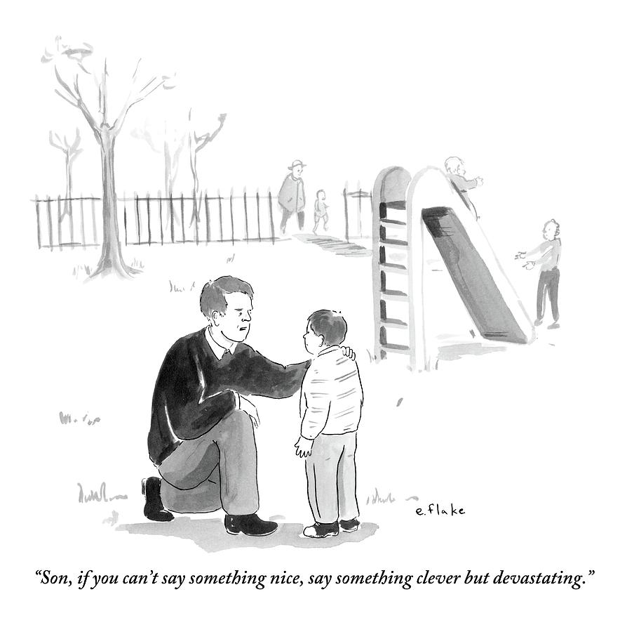 Advice Drawing - A Father Encourages His Son At The Playground by Emily Flake