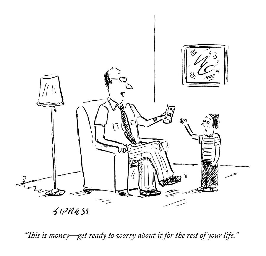 A Father Gives His Son Some Cash Drawing by David Sipress