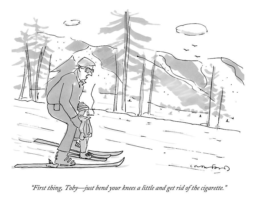 A Father Teaches His Son To Ski. The Son Drawing by Michael Crawford