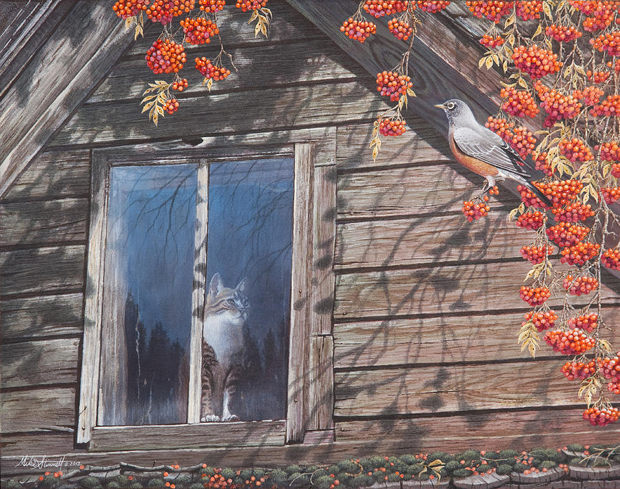 Cat Painting - A  Feast for the Eyes by Mike Stinnett