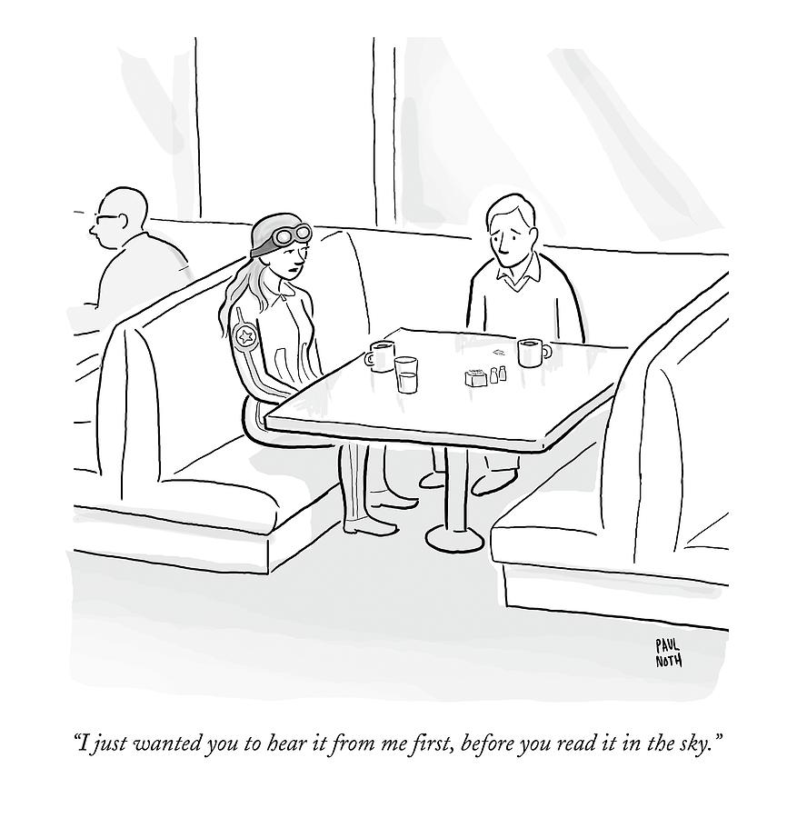 A Female Pilot And Her Boyfriend Sit Drawing by Paul Noth