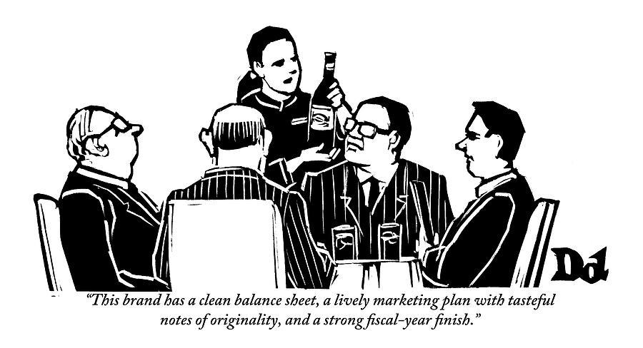 Businessmen Drawing - A Female Sommelier Presents A Bottle Of Wine by Drew Dernavich