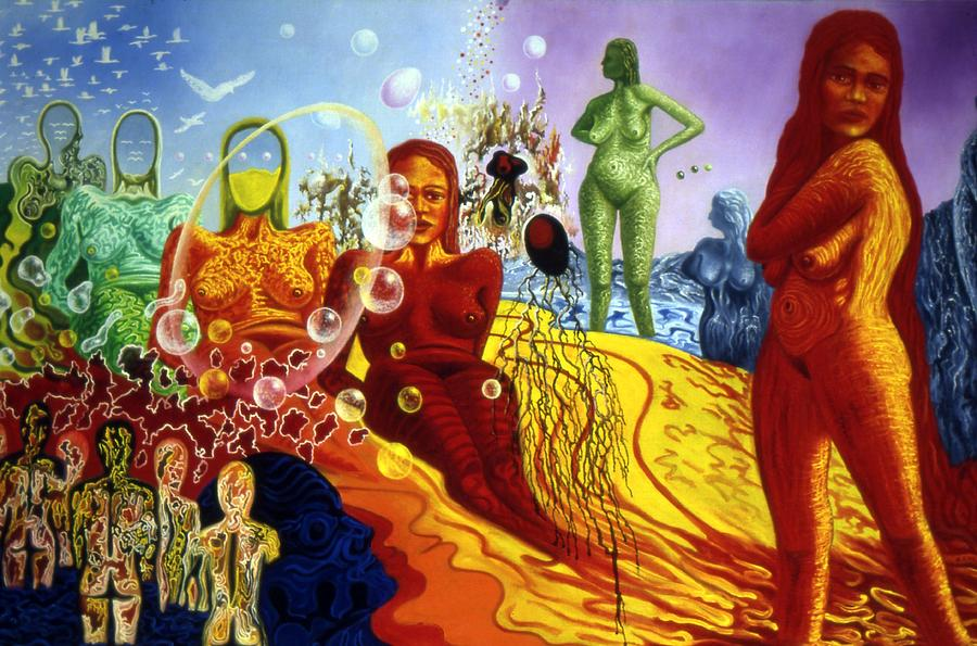 Genio Painting - A Feminine Day In A Masculine Dreamers Night by Genio GgXpress