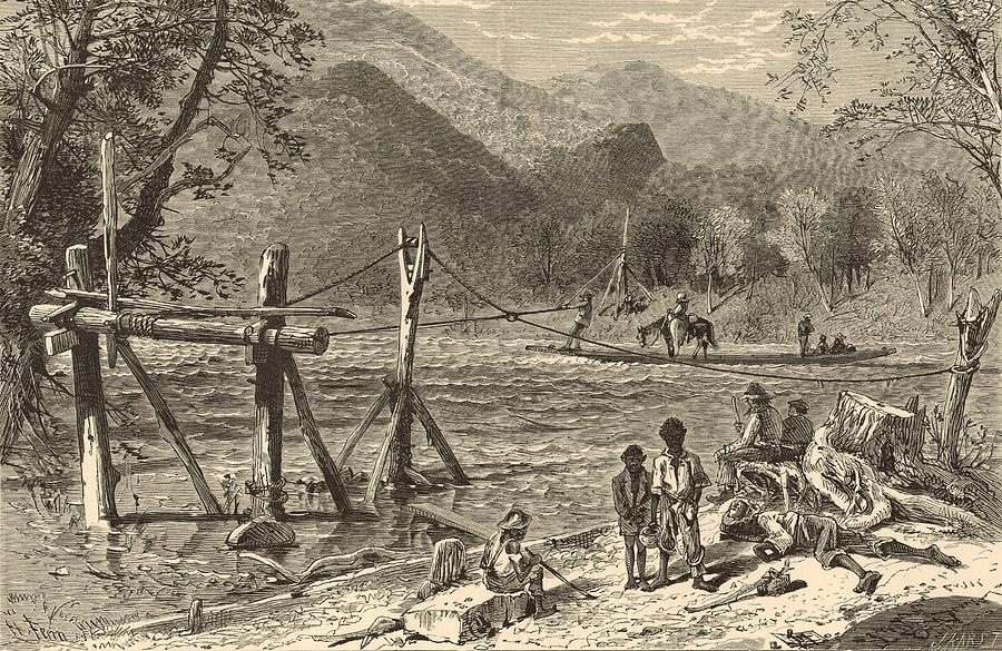 French Broad River Painting - A Ferry On The French Broad 1872 Engraving by Antique Engravings