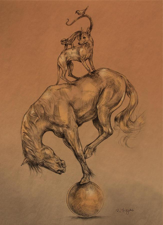 Horse Drawing - A Fine Balance by Derrick Higgins