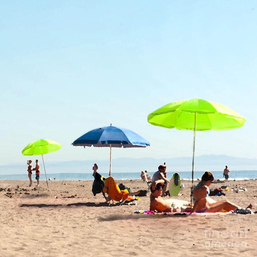 Beach Umbrellas Painting - A Fine Day At The Beach by Artist and Photographer Laura Wrede