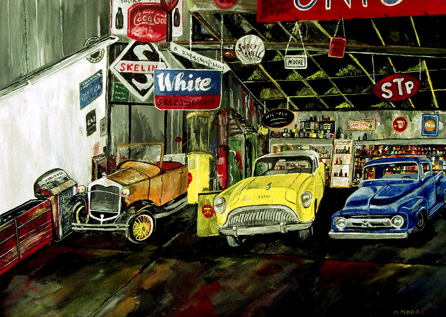 Old Car Painting - A Fine Time  by Mark Moore