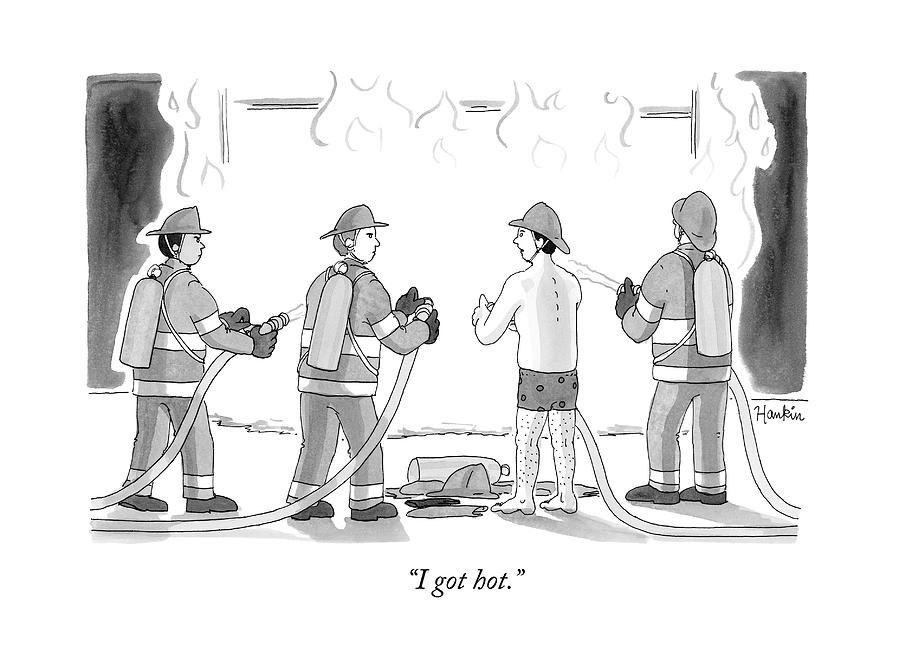 A Fireman In His Boxers Talks To His Colleagues Drawing by Charlie Hankin