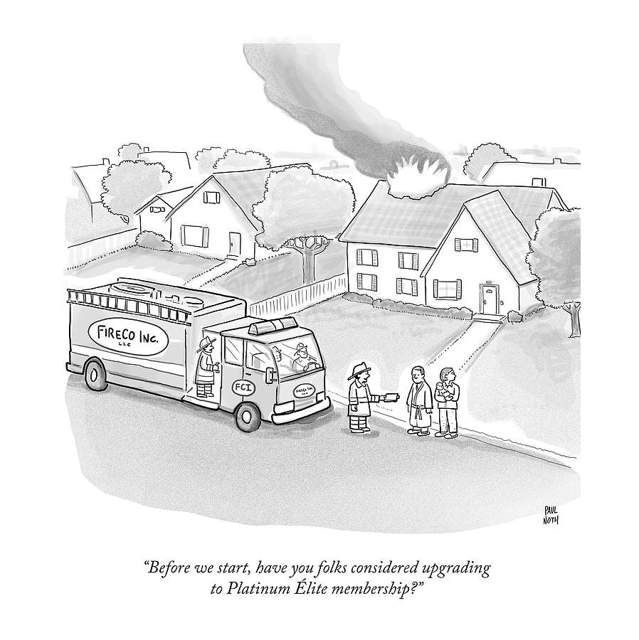 A Fireman Talks To A Family While Their House Drawing by Paul Noth