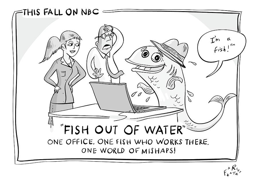 Television Drawing - A Fish Tries To Use A Computer While Two by Farley Katz