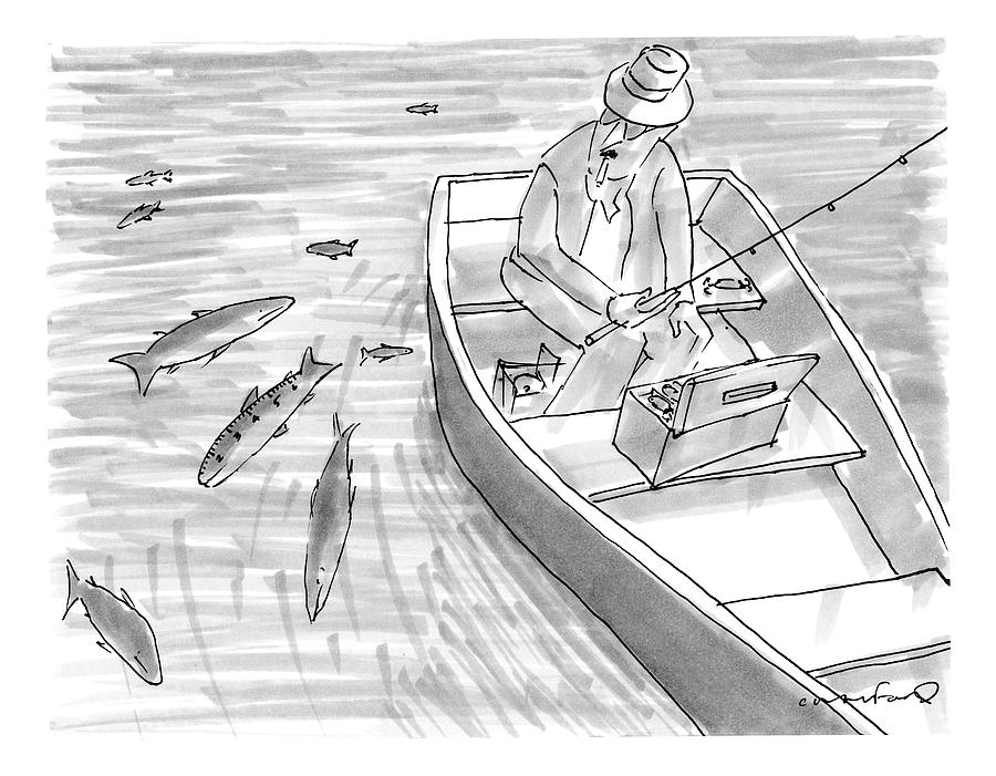 A Fisherman On A Rowboat Looks At The Fish Drawing by Michael Crawford