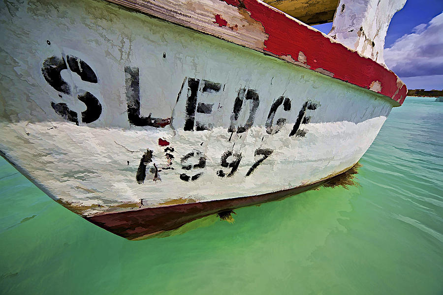 Anchored Photograph - A Fishing Boat Named Sledge by David Letts