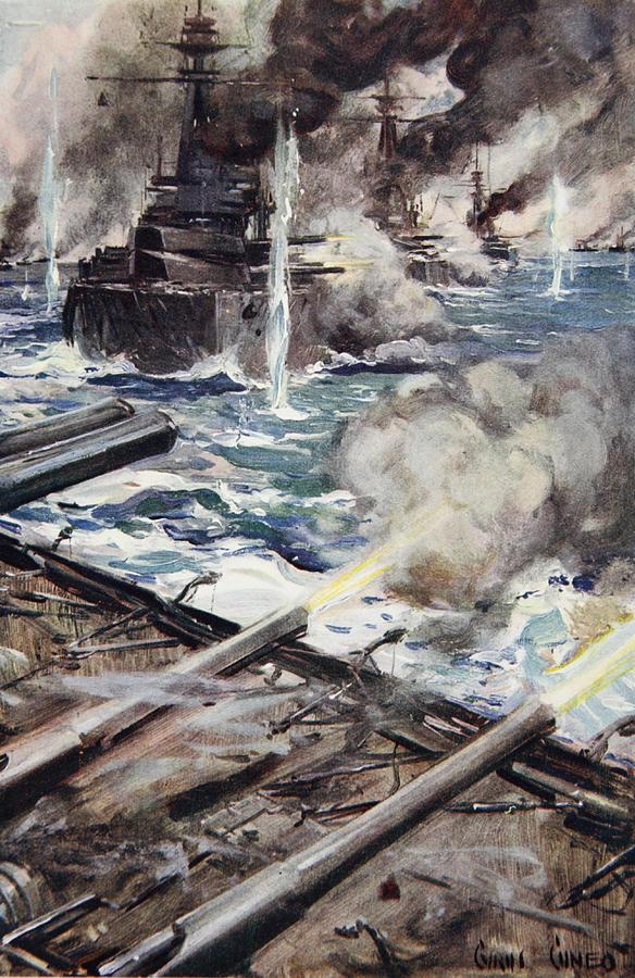 World War I Drawing - A Fleet Of Battleships Firing by Cyrus Cuneo