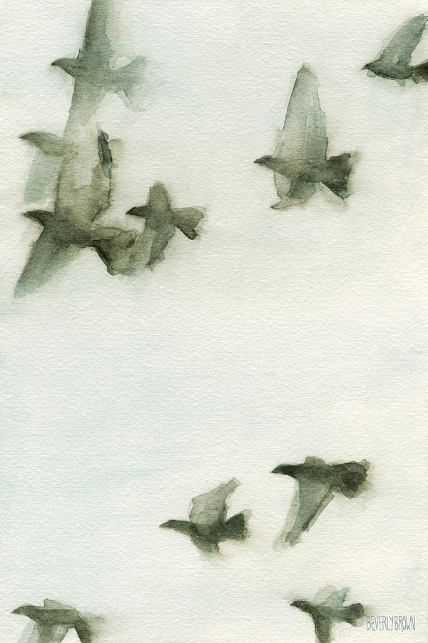 A Flock Of Pigeons 2 Watercolor Painting Of Birds Painting ...