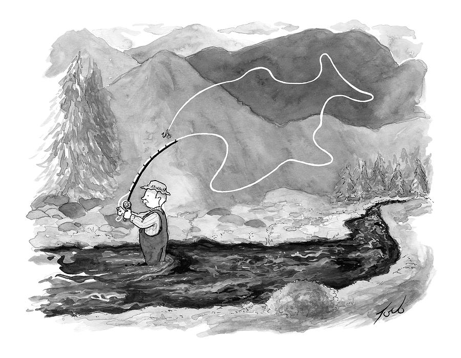 A Fly Fisherman Casts Back A Reel That Forms Drawing by Tom Toro