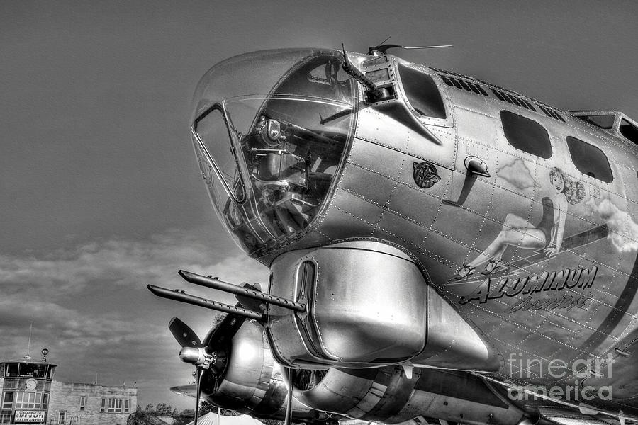 Airplanes Photograph - A Flying Fortress Bw by Mel Steinhauer