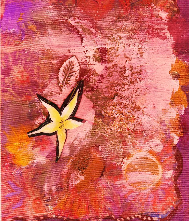 Collage Mixed Media - A Flying Star Flower by Anne-Elizabeth Whiteway