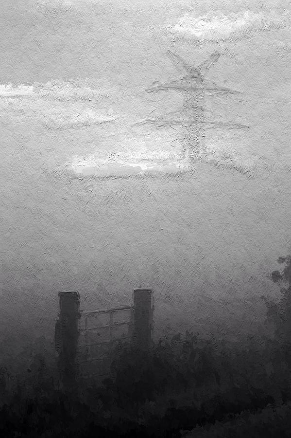 Fog Mist Misty Foggy Day Landscape Clouds Grey Gray Expressionism Bw Sw  Painting - A Foggy Day by Steve K