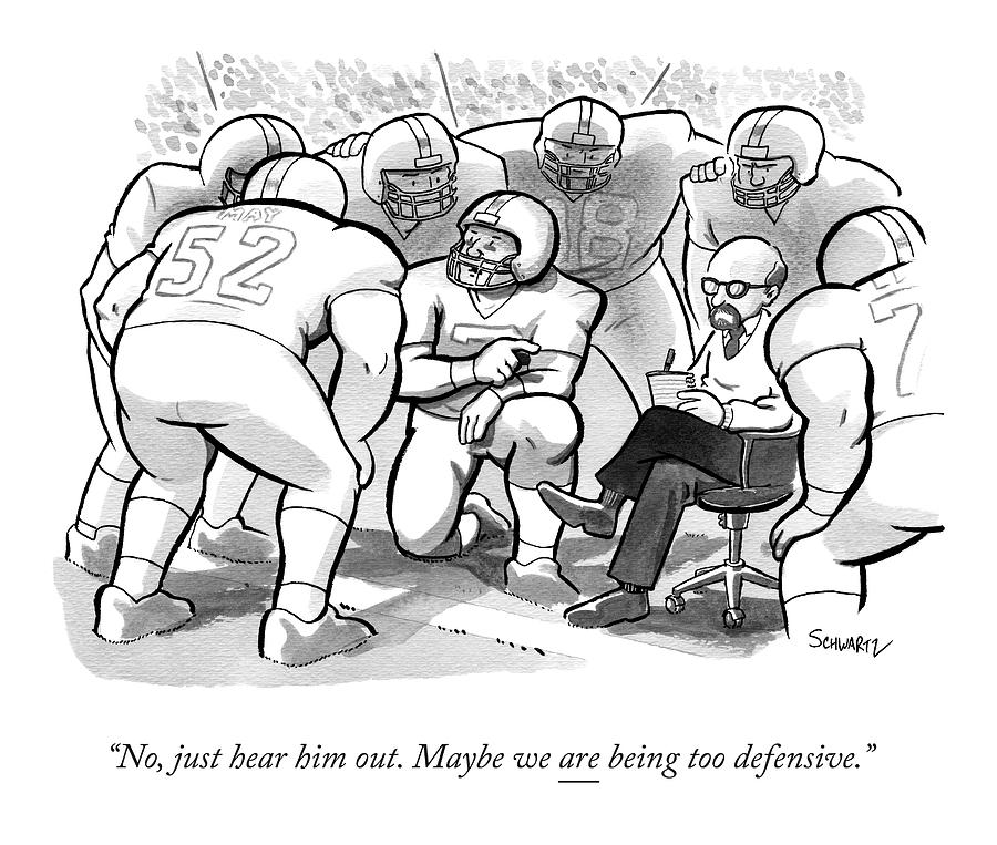 A Football Team Huddles Around A Therapist Drawing by Benjamin Schwartz
