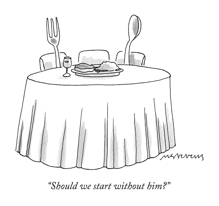 A Fork And A Spoon Sit At A Dinner Table By Mick Stevens - Book table for dinner