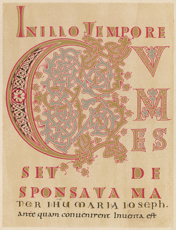 Writing Drawing - A Fragment Of Sintrams Evangelium by Mary Evans Picture Library
