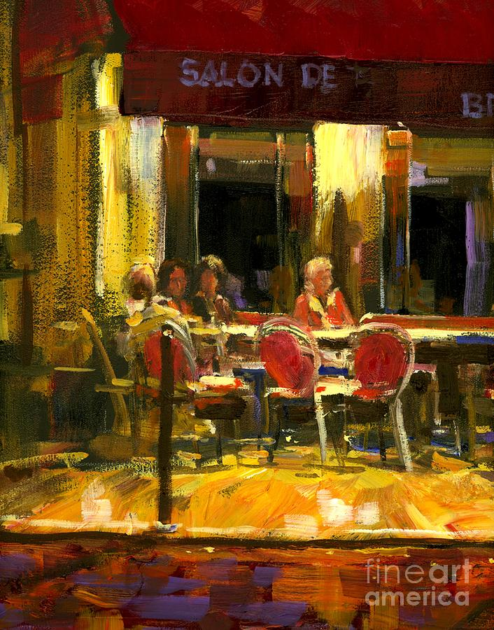 French Cafe Painting - A French Cafe And Friends by Michael Swanson