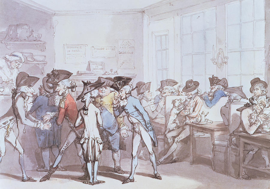 Bar Drawing - A French Coffee House by Thomas Rowlandson