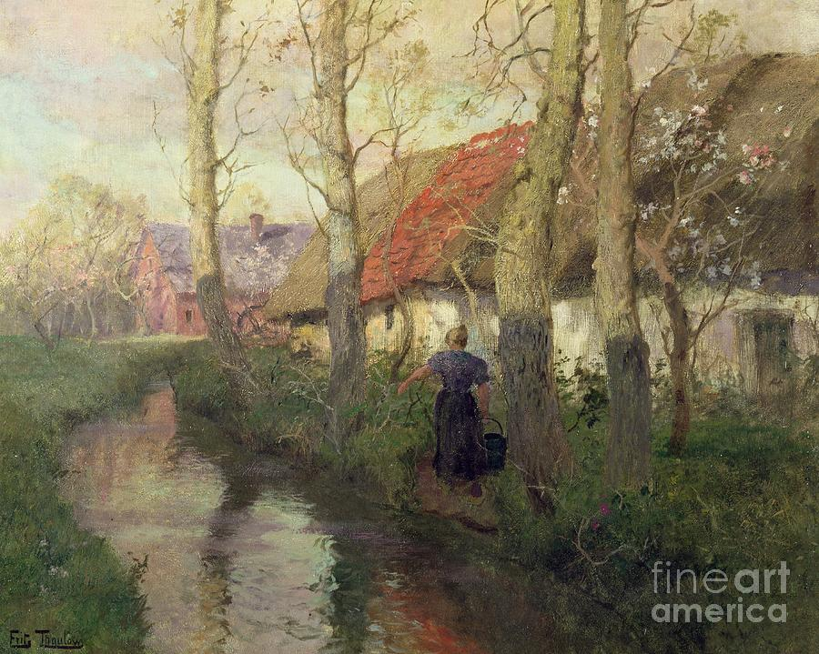 Spring Painting - A French River Landscape With A Woman By Cottages by Fritz Thaulow