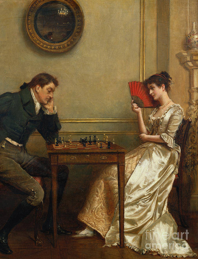 Edwardian Painting - A Game Of Chess by George Goodwin Kilburne