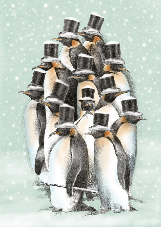 Penguins Drawing - A Gathering in the Snow by Eric Fan
