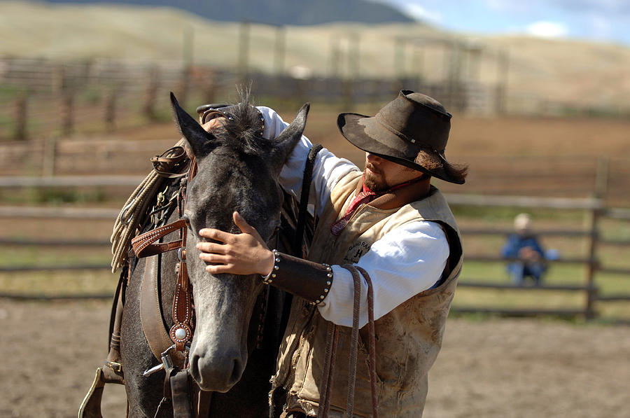 Cowboy Photograph - A Gentle Touch by Lee Raine