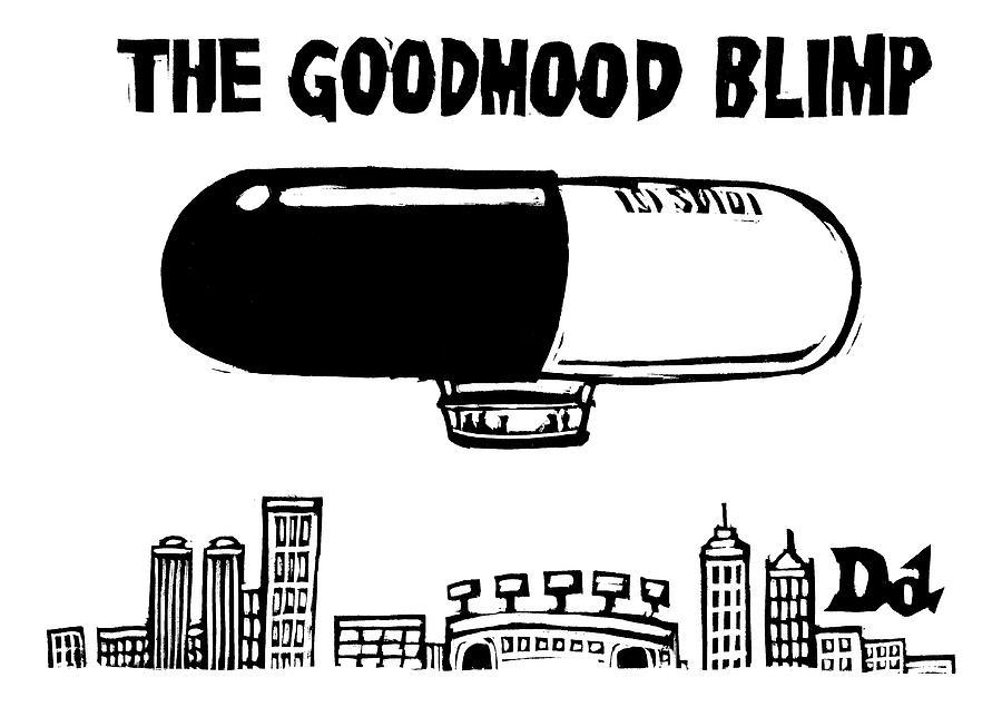 A Giant Blimp That Looks Like A Pill Flies Drawing by Drew Dernavich