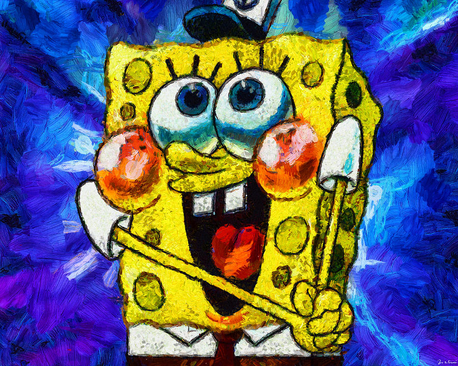 A Giddy Spongebob Digital Art By Joe Misrasi