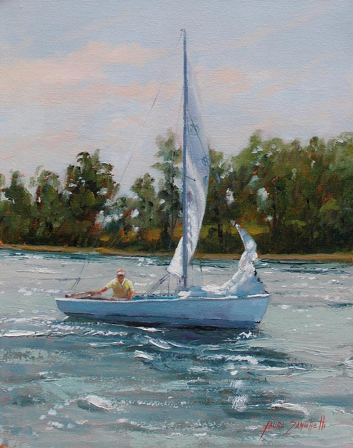 Boating Painting - A Gift Of Memories Two On Rhodes 19 by Laura Lee Zanghetti